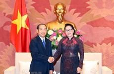 Presidenta parlamentaria vietnamita recibe al titular del Tribunal Popular Supremo de Laos