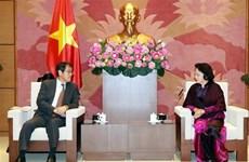 Presidenta de Asamblea Nacional de Vietnam recibe al embajador saliente japonés