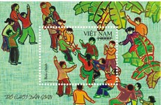 """Lanza Vietnam hoja de sellos postales """"Juegos populares"""""""
