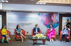 """Lanzan campaña """"Corazón azul"""" para poner fin a la violencia contra niños y mujeres"""
