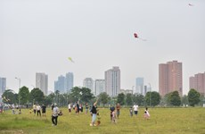 Papalotes vuelan en el cielo de Hanoi