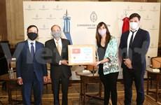 Entregan donación vietnamita de mascarillas al Congreso argentino