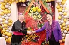 Extienden felicitaciones navideñas a comunidad católica en ciudad vietnamita