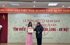 Entregan premios de concurso sobre 1010 años de Thang Long-Hanoi
