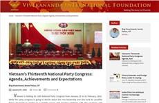 Lazos Vietnam-India seguirán desarrollándose después del XIII Congreso Nacional del PCV