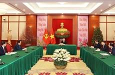 Máximos dirigentes partidistas de Vietnam y Cuba aprecian amistad binacional