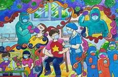 Niños vietnamitas crean obras de pintura sobre lucha contra el COVID-19