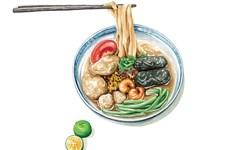 Disfrutan platos típicos de Hanoi a través de dibujos