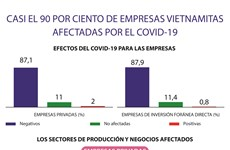 Casi el 90 por ciento de empresas vietnamitas afectadas por el COVID-19