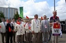 Izan bandera vietnamita en Villa Olímpica de Londres