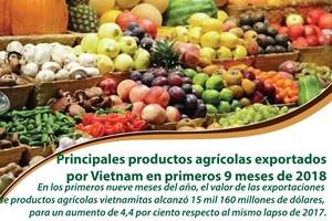 [Infografía]  Principales productos agrícolas exportados por Vietnam en primeros nueve meses de 2018
