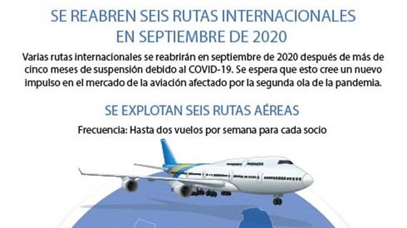 Se reabren seis rutas internacionales en septiembre de 2020