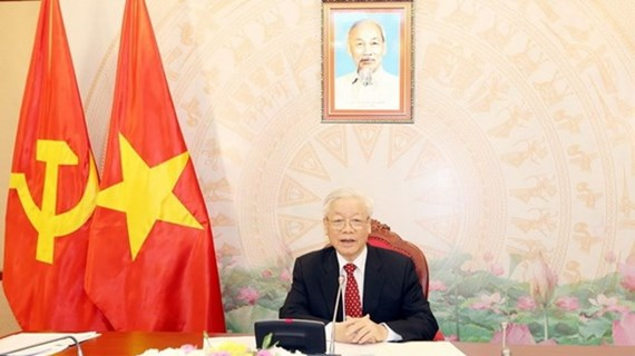 Máximo dirigente de Vietnam dialoga con nuevo secretario general del Partido Popular Revolucionario de Laos