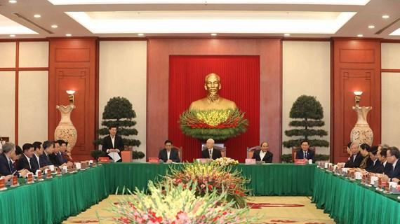 Efectúan reunión con exmiembros del Buró Político del duodécimo mandato
