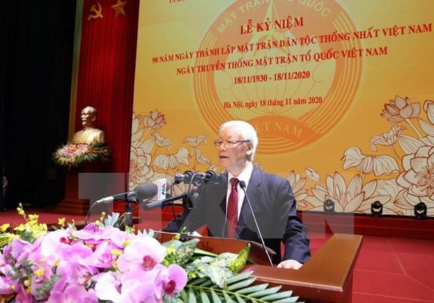 Maximo dirigente de Vietnam encabeza acto por el aniversario 90 del Dia Nacional del Frente de la Patria hinh anh 1