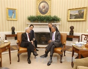Lider partidista vietnamita conversa con presidente Barack Obama hinh anh 1