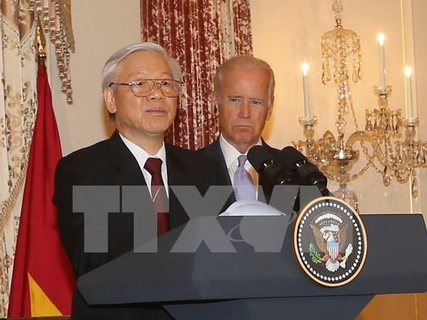 Nguyen Phu Trong asiste a recepcion de administracion estadounidense hinh anh 1