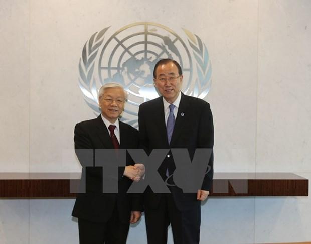 Maximo dirigente partidista vietnamita se reune con Ban ki-moon hinh anh 1