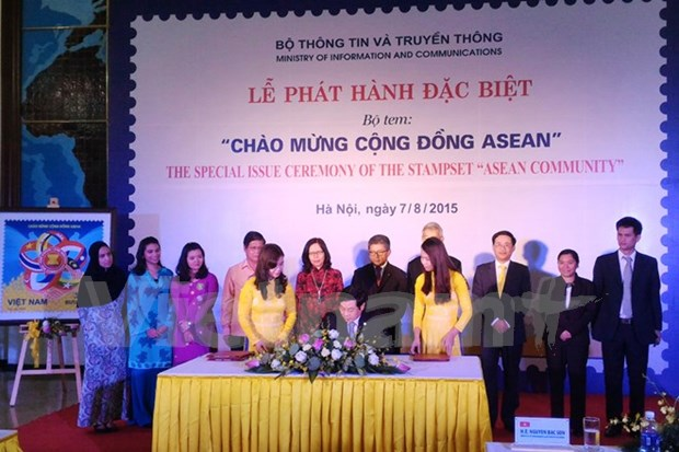 Presentan en Hanoi muestra de sello comun de ASEAN hinh anh 1