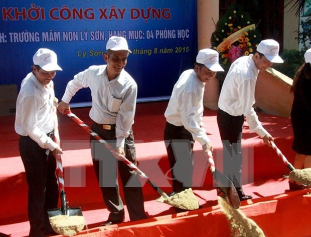 Arranca construccion de escuela preescolar en isla Ly Son hinh anh 1