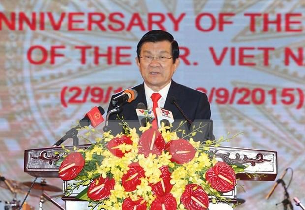 Lideres vietnamitas celebran Dia Nacional con recepcion hinh anh 1