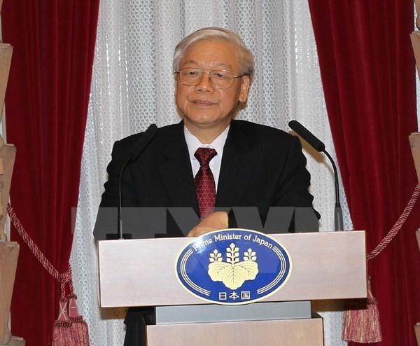 Lider partidista vietnamita continua su agenda de trabajo en Japon hinh anh 1