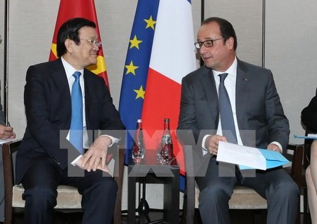 Presidente vietnamita se reune con su homologo frances hinh anh 1