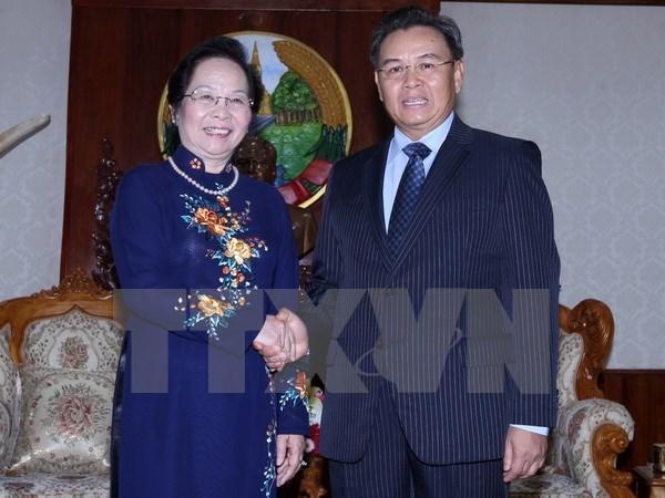 Vicepresidenta vietnamita se reune con dirigente parlamentario de Laos hinh anh 1