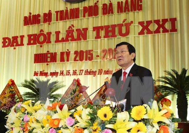 Presidente asiste a la asamblea partidista de Da Nang hinh anh 1