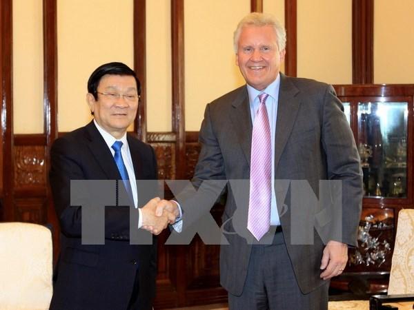 Presidente se reune con lider de grupo estadounidense GE hinh anh 1