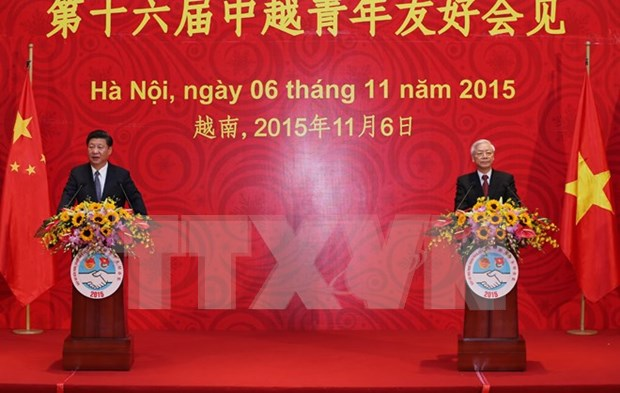 Nguyen Phu Trong y Xi Jinping se reunen con jovenes destacados hinh anh 1