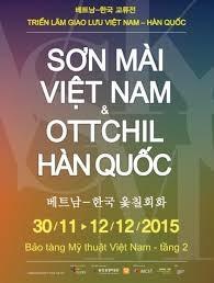En Hanoi exposicion de arte de laca de Vietnam y Sudcorea hinh anh 1