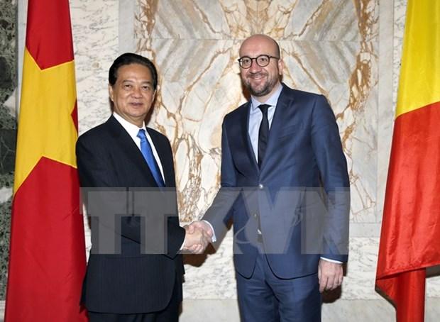 Premier vietnamita conversa con su par belga en Bruselas hinh anh 1