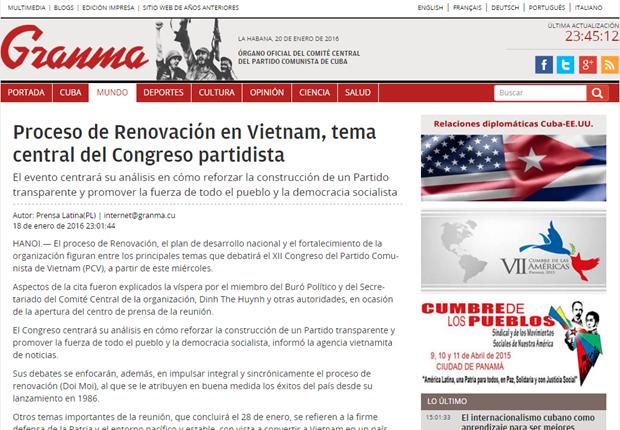 Prensa cubana saluda XII Congreso del Partido Comunista de Vietnam hinh anh 1