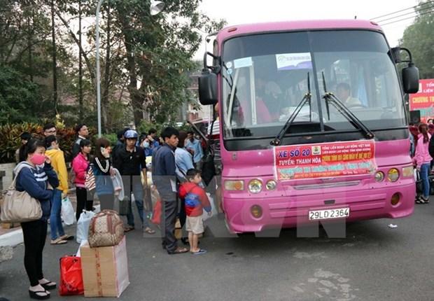 Billetes gratuitos de transporte para miles de trabajadores por el Tet hinh anh 1