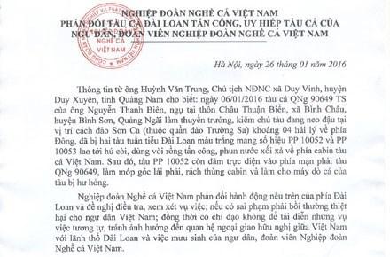 Asociacion vietnamita de Pesca condena asalto de barcos taiwaneses hinh anh 1