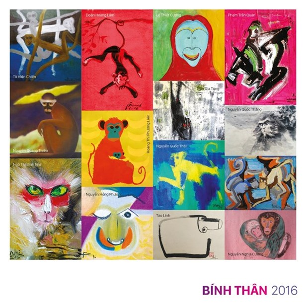 Muestra de pinturas sobre monos en Hanoi saluda al Ano Nuevo Lunar 2016 hinh anh 1