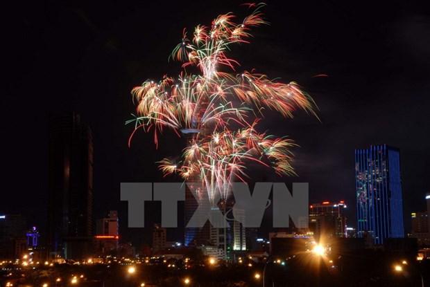 Ciudad Ho Chi Minh festeja ano nuevo lunar con fuegos artificiales hinh anh 1