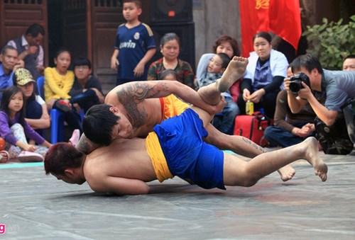 Festival de lucha tradicional en la aldea Mai Dong en ocasion de Tet hinh anh 1
