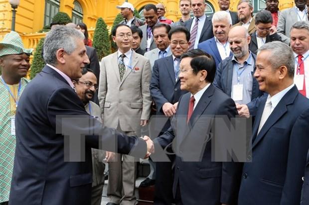 Presidente vietnamita recibe a secretario general de Federacion Sindical Mundial hinh anh 1