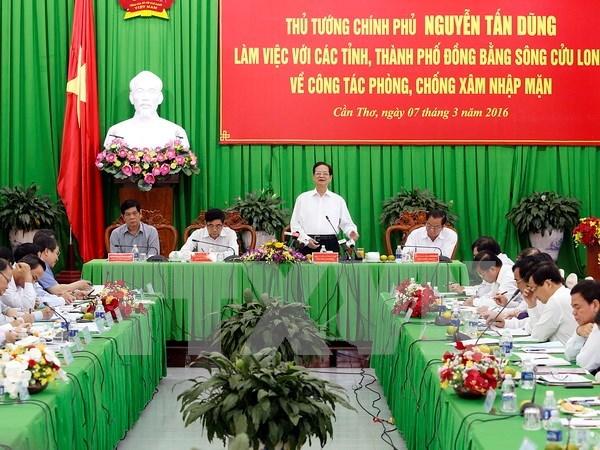 Exige premier asegurar agua para produccion y vida de poblacion en delta de Mekong hinh anh 1
