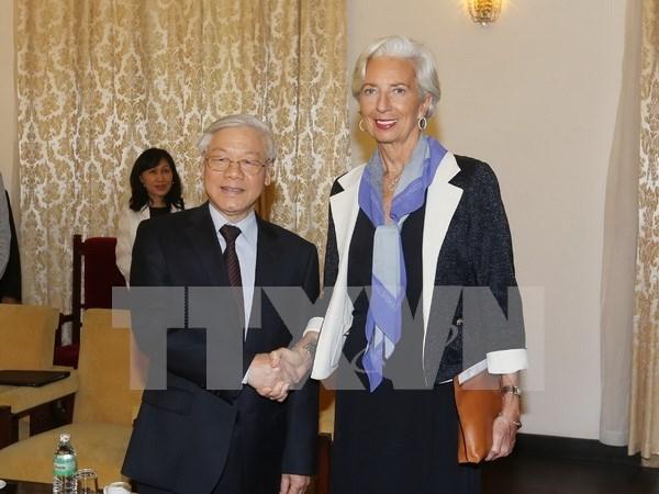 Maximo lider partidista de Vietnam recibe a directora general de FMI hinh anh 1