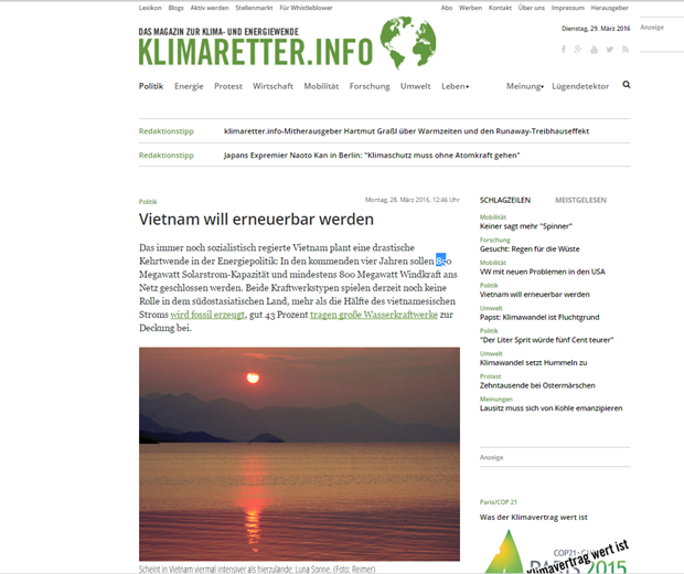 Exalta revista alemana impulso de uso de energia renovable en Vietnam hinh anh 1