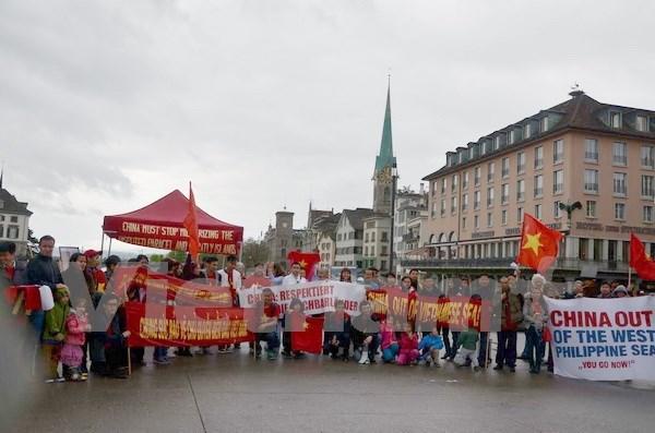 Protesta pacifica en Suiza contra acciones violatorias de China en el Mar del Este hinh anh 1