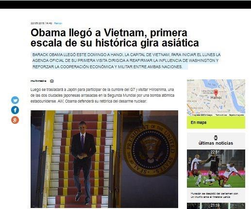 Prensa argentina destaca visita a Vietnam de Barack Obama hinh anh 1