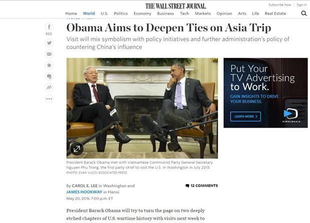 Periodicos de EE.UU. y Belgica destacan visita a Vietnam de Obama hinh anh 1