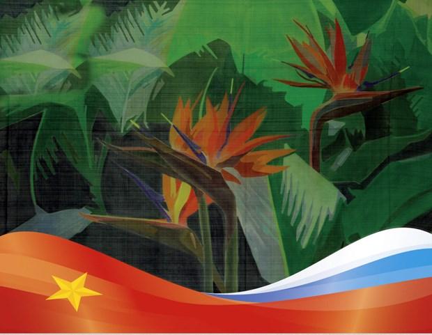 Exhibicion de pinturas en seda de Vietnam en Rusia hinh anh 1