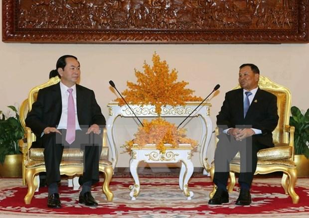 Presidente de Vietnam se reune con lideres de Camboya hinh anh 1