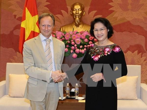 Presidenta del Parlamento vietnamita recibe a embajadores europeos hinh anh 1