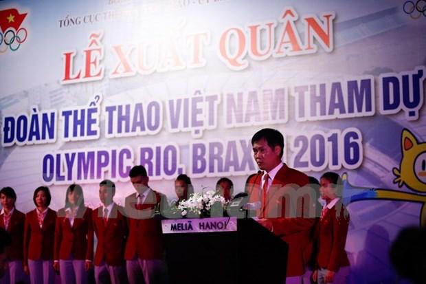Efectuan abanderamiento a delegacion vietnamita a Juegos Olimpicos 2016 hinh anh 1